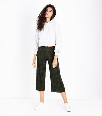 Khaki Pleated Culottes