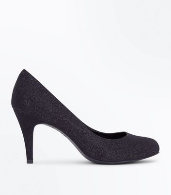 Wide Fit Black Glitter Court Shoes