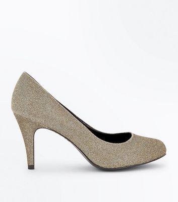Wide Fit Gold Glitter Court Shoes
