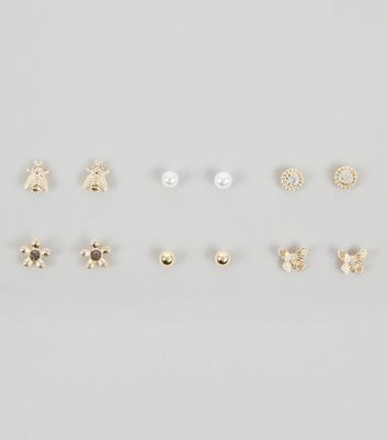 6 Pack Gold Bug and Pearl Stud Earrings