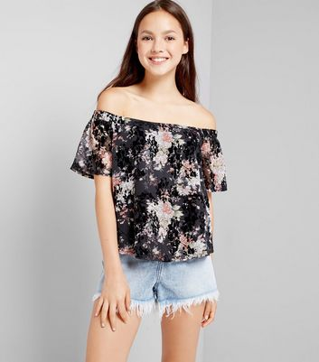 Teens Black Floral Print Flocked Bardot Neck Top