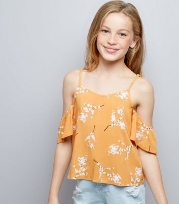 Teens Orange Floral Print Cold Shoulder Top