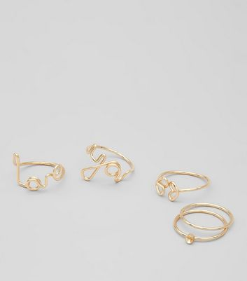 4 Pack Gold Love You Script Stack Rings
