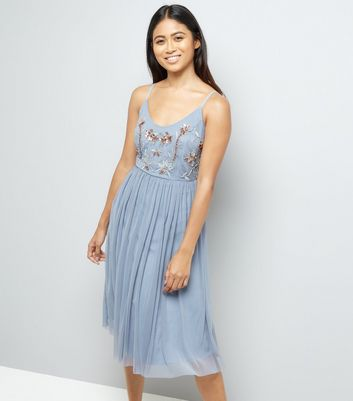 Petite Blue Premium Embroidered Tulle Mesh Dress