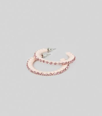 Shell Pink Diamante Half Hoop Earrings