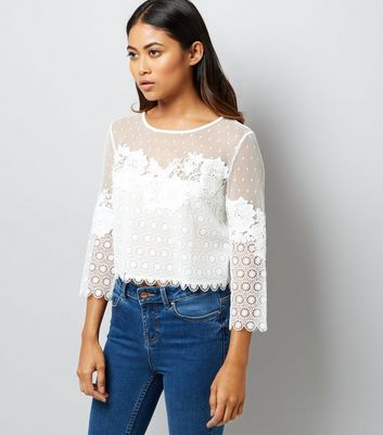 Petite White Spot Mesh Lace Detail Top