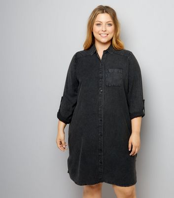Curves Black Washed Denim Shirt Dress