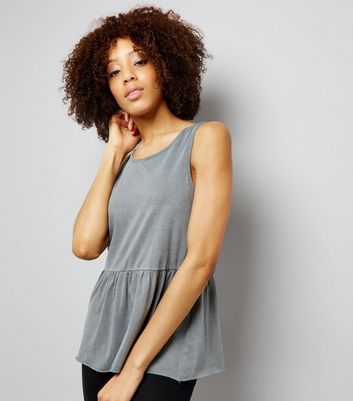 Grey Peplum Hem Tank Top