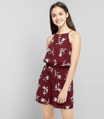 Teens Burgundy Floral Print Lattice Front Playsuit