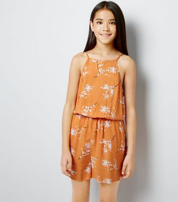 Teens Orange Floral Print Lattice Front Playsuit