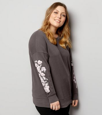 Curves Grey Floral Printed Sleeve Sweater