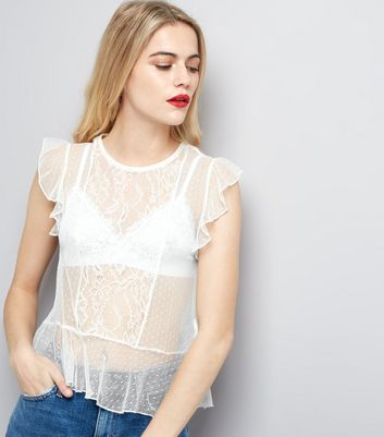 White Textured Polkadot and Lace Frill Trim Top