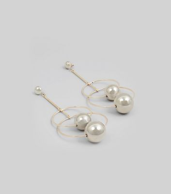 Gold Double Pearl Ring Drop Earrings