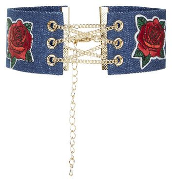 Denim Floral Embroidered Lace Up Choker