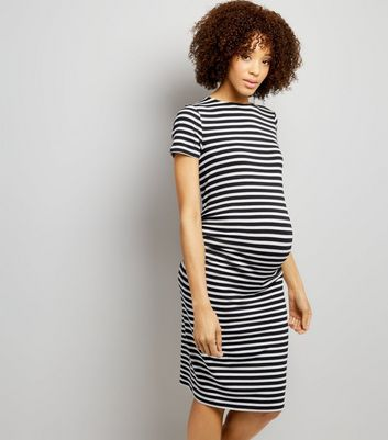 Maternity Black Stripe Short Sleeve Midi Dress