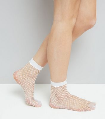 White Oversized Fishnet Socks