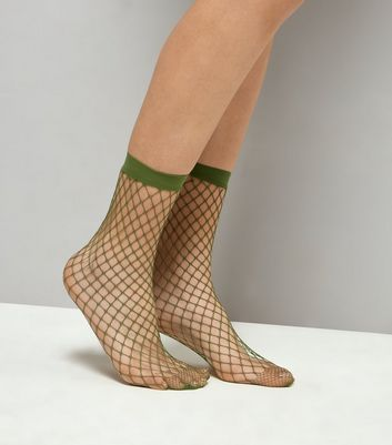 Khaki Oversized Fishnet Socks