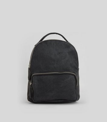 Black Acid Wash Mini Backpack
