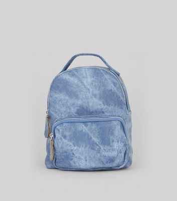 Blue Acid Wash Mini Backpack