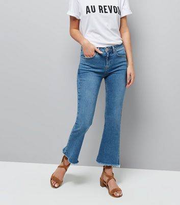 Blue Kick Flare Cropped Raw Hem Jeans