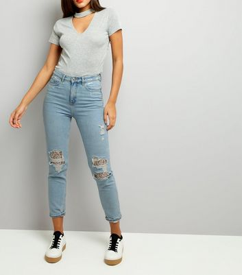 Pale Blue Ripped Lace Knee Mom Jeans
