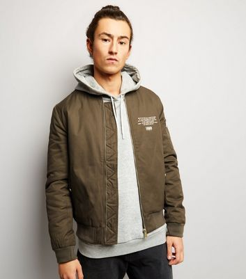 Khaki Printed Trim Bomber Jacket