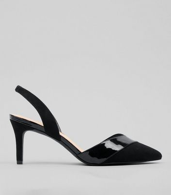 Wide Fit Black Patent Trim Sling Back Heels
