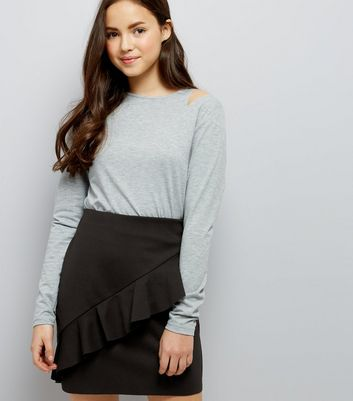 Teens Black Frill Front Tube Skirt