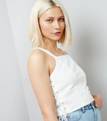 White Lace Side Crop Top