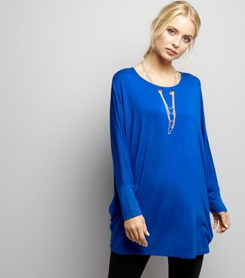 Blue Vanilla Blue Necklace Detail Oversized Top
