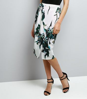 QED White Palm Print Wrap Front Midi Skirt