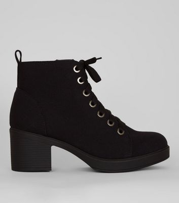 Wide Fit Black Canvas Lace Up Ankle Boots