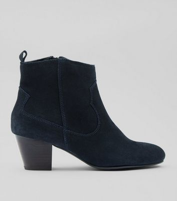 Navy Suede Western Ankle Boots