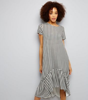 Innocence Black Gingham Frill Dip Hem Dress