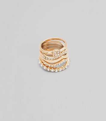 5 Pack Gold Diamante Detail Stack Rings