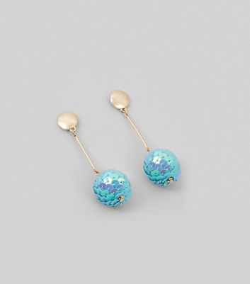 Blue Sequin Ball Earrings