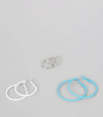 3 Pack Blue White and Silver Hoop Earrings