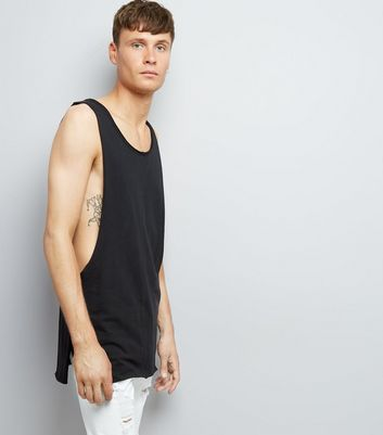 Black Extreme Dropped Armhole Vest
