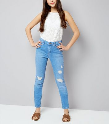 Teens Pale Blue Ripped Skinny Jeans
