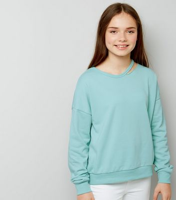 Teens Mint Green Cut Out Neck Sweater