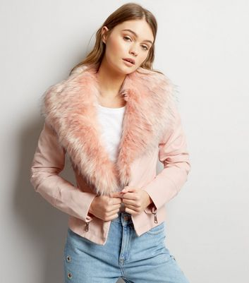 Blue Vanilla Pink Faux Fur Collar Leather-Look Jacket