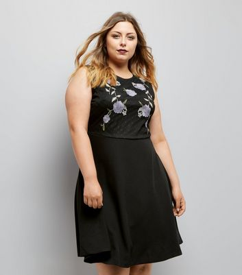 Curves Black Floral Embroidered Mesh Bodice Skater Dress