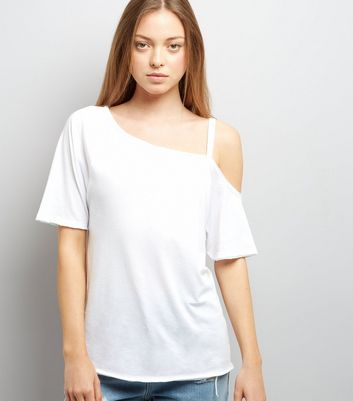 White Asymmetric One Shoulder T-Shirt