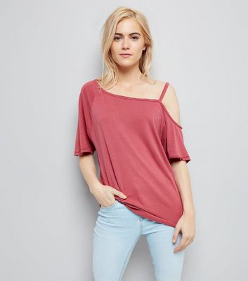 Deep Pink Asymmetric One Shoulder T-Shirt