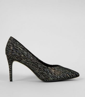 Wide Fit Black Iridescent Pointed Court Shoes