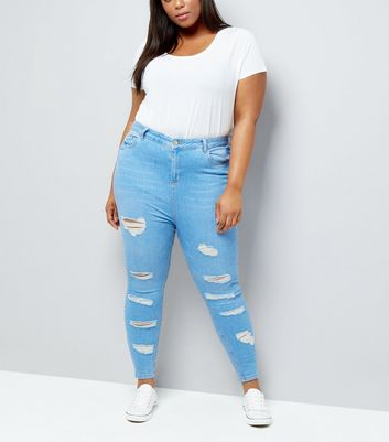 Curves Bright Blue High Waist Ripped Skinny Jeans