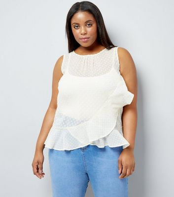 Curves Cream Frill Trim Chiffon Top