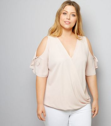 Curves Shell Pink Cold Shoulder Top