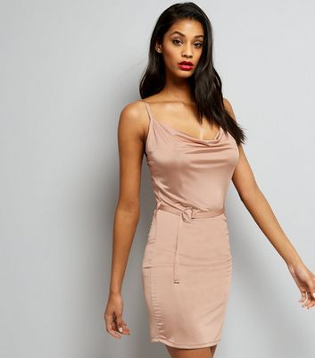 Shell Pink Cowl Neck Bodycon Dress