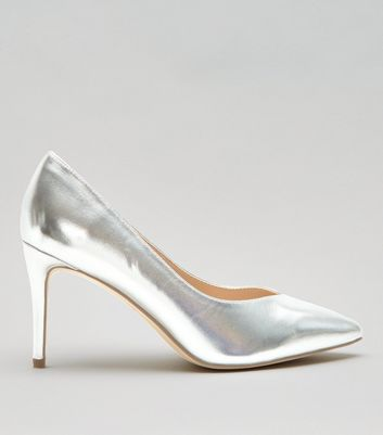 Wide Fit Silver Metallic Pointed Heels